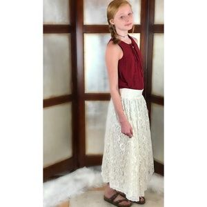 Picture Me Holiday Lace Long Lined Skirt